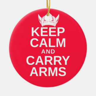 Keep Calm and Carry Arms Danish Viking Gear Round Ceramic Ornament