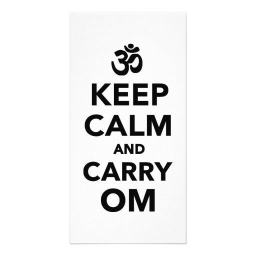Keep calm and carry om custom photo card