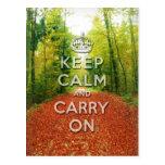 keep calm and carry on Autumn season Postcard