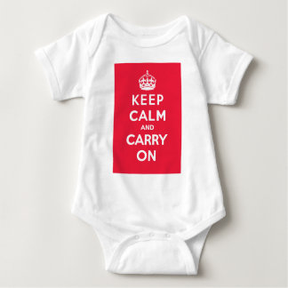 Keep Calm and Carry On_BABY_RED Baby Bodysuit