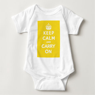 Keep Calm and Carry On_BABY_YELLOW Baby Bodysuit
