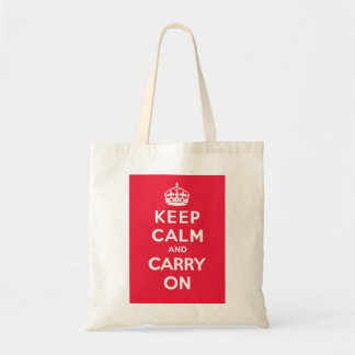 Keep Calm and Carry On_BAG_RED Budget Tote Bag