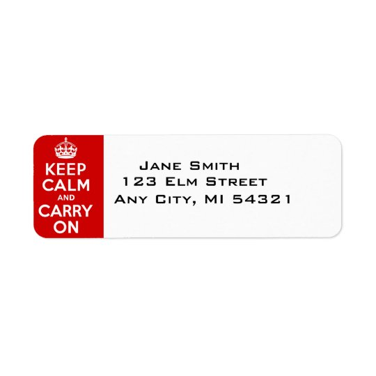 Keep Calm And Carry On best price Return Address Label