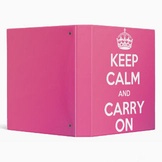 Keep Calm and Carry On Binder (pink)