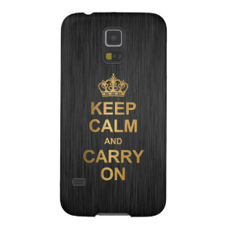 Keep Calm and Carry On - Black and Gold Case For Galaxy S5