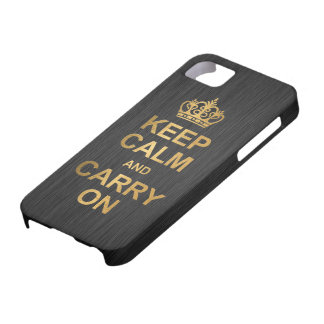 Keep Calm and Carry On - Black and Gold Case For The iPhone 5