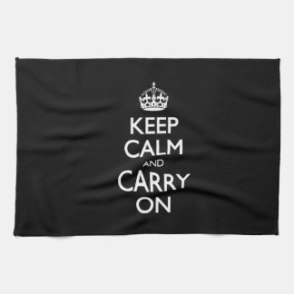 Keep Calm And Carry On - Black And White Design Kitchen Towel