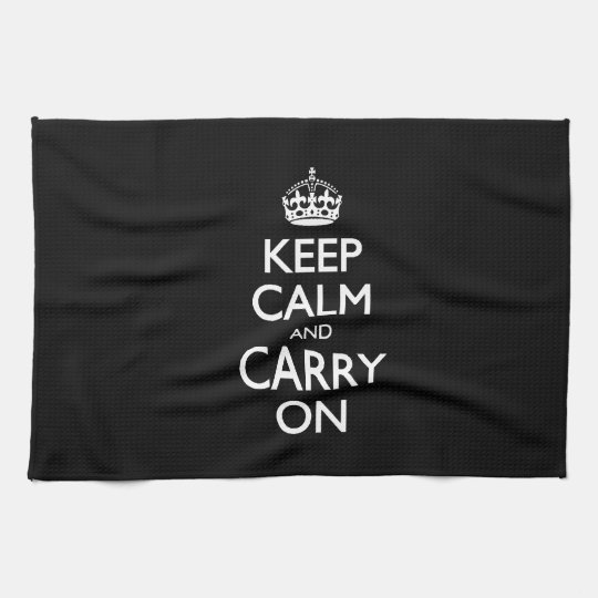 Keep Calm And Carry On - Black And White Design Towels