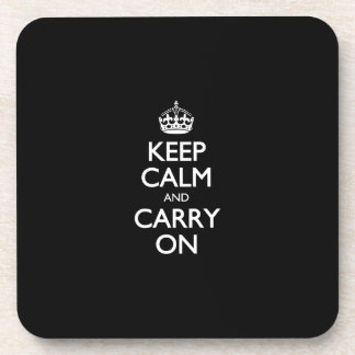 Keep Calm And Carry On - Black And White Pattern Coaster