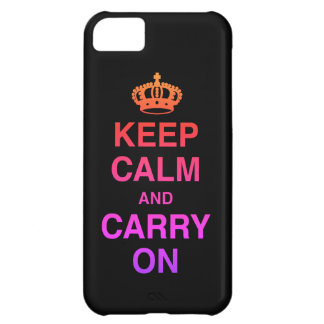 KEEP CALM AND CARRY ON / Black iPhone 5C Case
