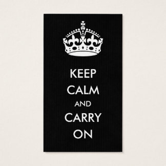 Keep Calm and Carry on Black Kraft Paper Business Card
