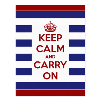 Keep Calm and Carry On Blue and White Stripe Postcard