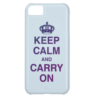 KEEP CALM AND CARRY ON blue Case-Mate iPhone Case