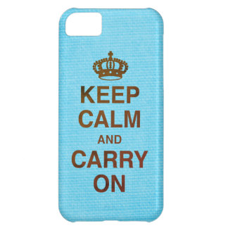 KEEP CALM AND CARRY ON / Blue Texture Case-Mate iPhone Case