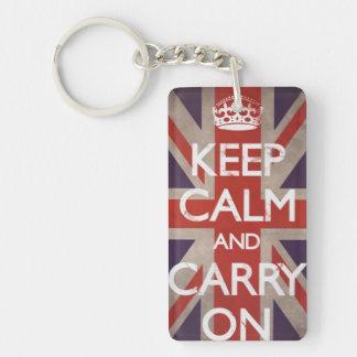 Keep Calm and Carry On British flag keychain