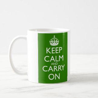 Keep Calm and Carry On British Racing Green Coffee Mug