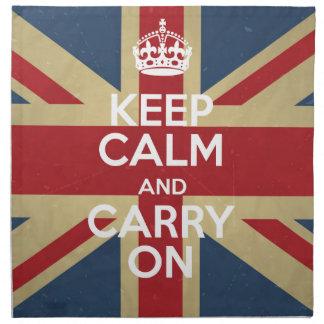 Keep Calm And Carry On Cloth Napkins