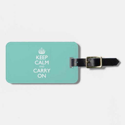 Keep Calm And Carry On - Cockatoo Mint. White Text Travel Bag Tag
