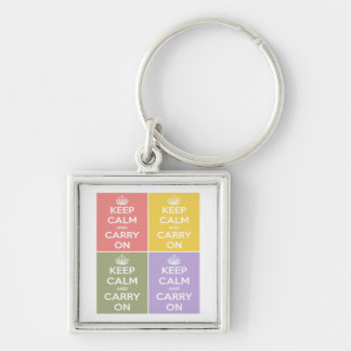 Keep Calm and Carry On Collage Silver-Colored Square Keychain