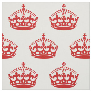 Keep Calm And Carry On Crown Pattern Fabric