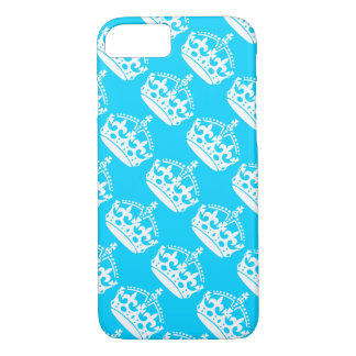 Keep Calm and Carry On Crown White on Blue iPhone 7 Case