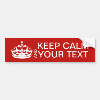 Keep Calm And Carry On Customizable Bumper Sticker