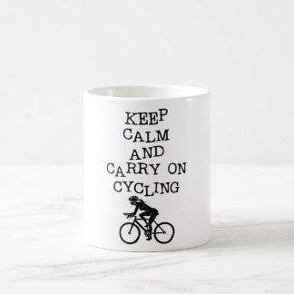 KEEP CALM AND CARRY ON CYCLING COFFEE MUG