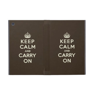 Keep Calm and Carry On Dark Chocolate, Cream Text Covers For iPad Mini