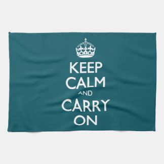 Keep Calm And Carry On. Dark Teal Pattern Kitchen Towel