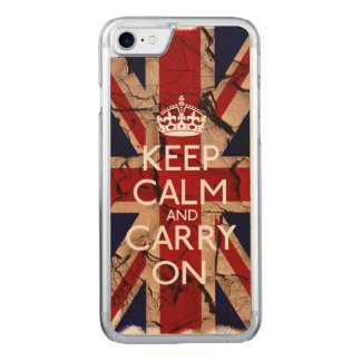 Keep Calm And Carry On Dirty Vintage UK Carved iPhone 8/7 Case