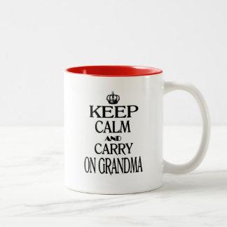 Keep Calm And Carry On Grandma Two-Tone Coffee Mug