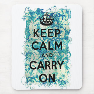 Keep Calm and Carry On Grunge Wallpaper Damask Mouse Pad