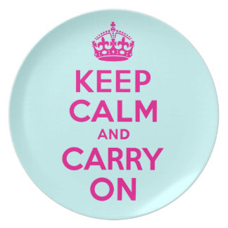 Keep Calm And Carry On Hot Pink and Teal Blue Plate