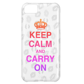 KEEP CALM AND CARRY ON & KISSES CASE FOR iPhone 5C