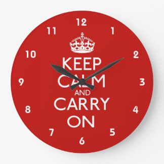 Keep Calm and Carry On Large Clock