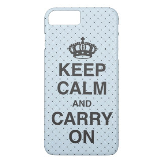 KEEP CALM AND CARRY ON / Light Blue iPhone 8 Plus/7 Plus Case