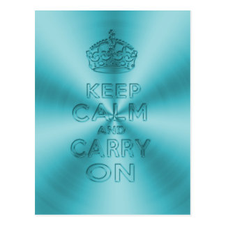 Keep calm and carry on light blue shinning metal postcard