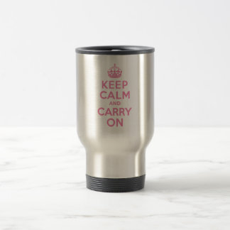 Keep Calm And Carry On. Light Pink. Best Price. Stainless Steel Travel Mug