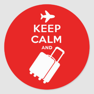 Keep Calm and Carry on Luggage Round Sticker