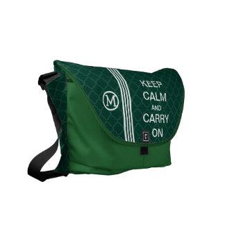 KEEP CALM AND CARRY ON Monogram Racing Stripe Messenger Bag