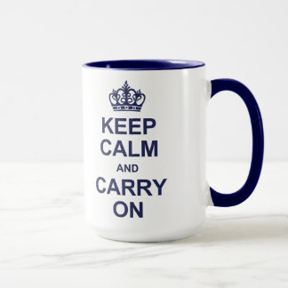 Keep calm and carry on - navy blue mug
