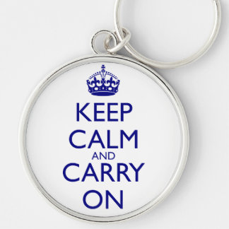 Keep Calm and Carry On Navy Blue Text Silver-Colored Round Keychain