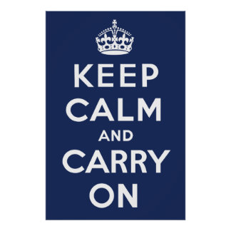 Keep Calm and Carry On (Navy) Poster