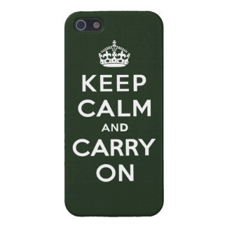 Keep Calm and Carry On Olive Green iPhone 5 Cover