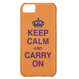 KEEP CALM AND CARRY ON (Orange / Purple) Case For iPhone 5C