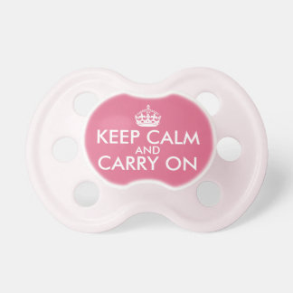 Keep Calm and Carry On Pacifier, Pink Baby Pacifier