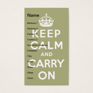 Keep Calm and Carry On Pale Green Business Card
