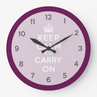Keep Calm and Carry On Passionate Purple Large Clock
