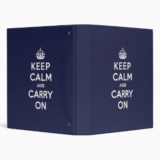 Keep Calm and Carry On Phthalo Blue 3 Ring Binder