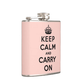 keep calm and carry on -  pink and black hip flask